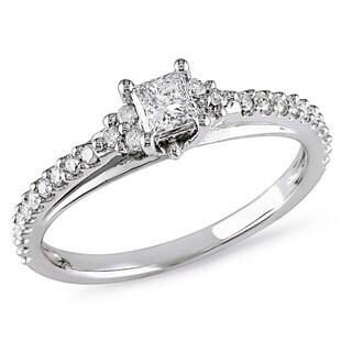 Miadora 10k White Gold 1/2ct TDW Diamond Ring