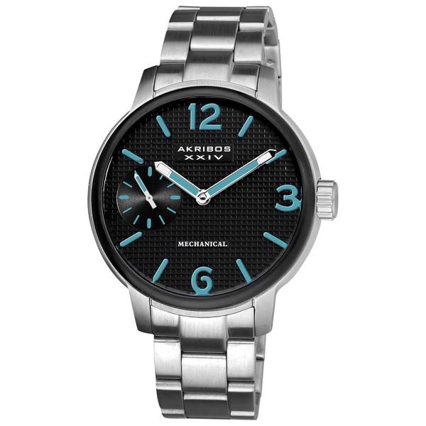 Akribos XXIV Men's Mechanical Bracelet Watch with Blue Hands