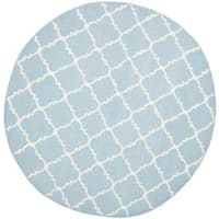 Safavieh Hand-woven Moroccan Reversible Dhurrie Light Blue/ Ivory Wool Rug - 6' x 6' Round