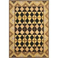 Safavieh Hand-knotted Gabeh Tribal Black/ Gold Wool Rug - 4' x 6'