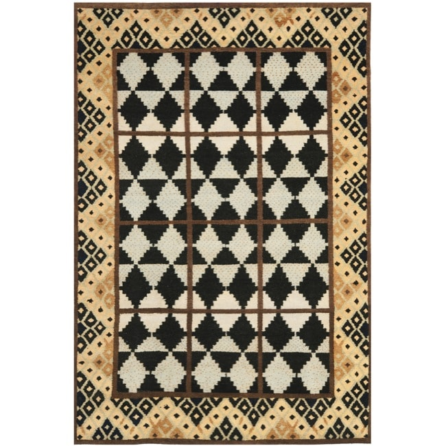 Safavieh Hand-knotted Gabeh Tribal Black/ Multi Wool Rug (6' x 9') - Thumbnail 0