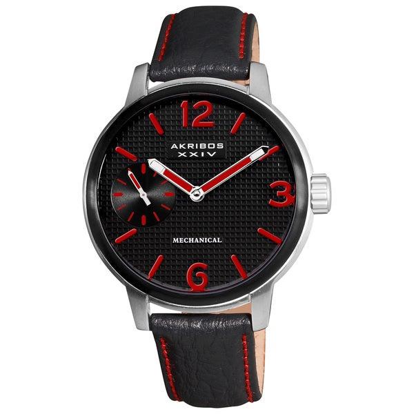 Akribos XXIV Men's Genuine Leather Mechanical Strap Watch