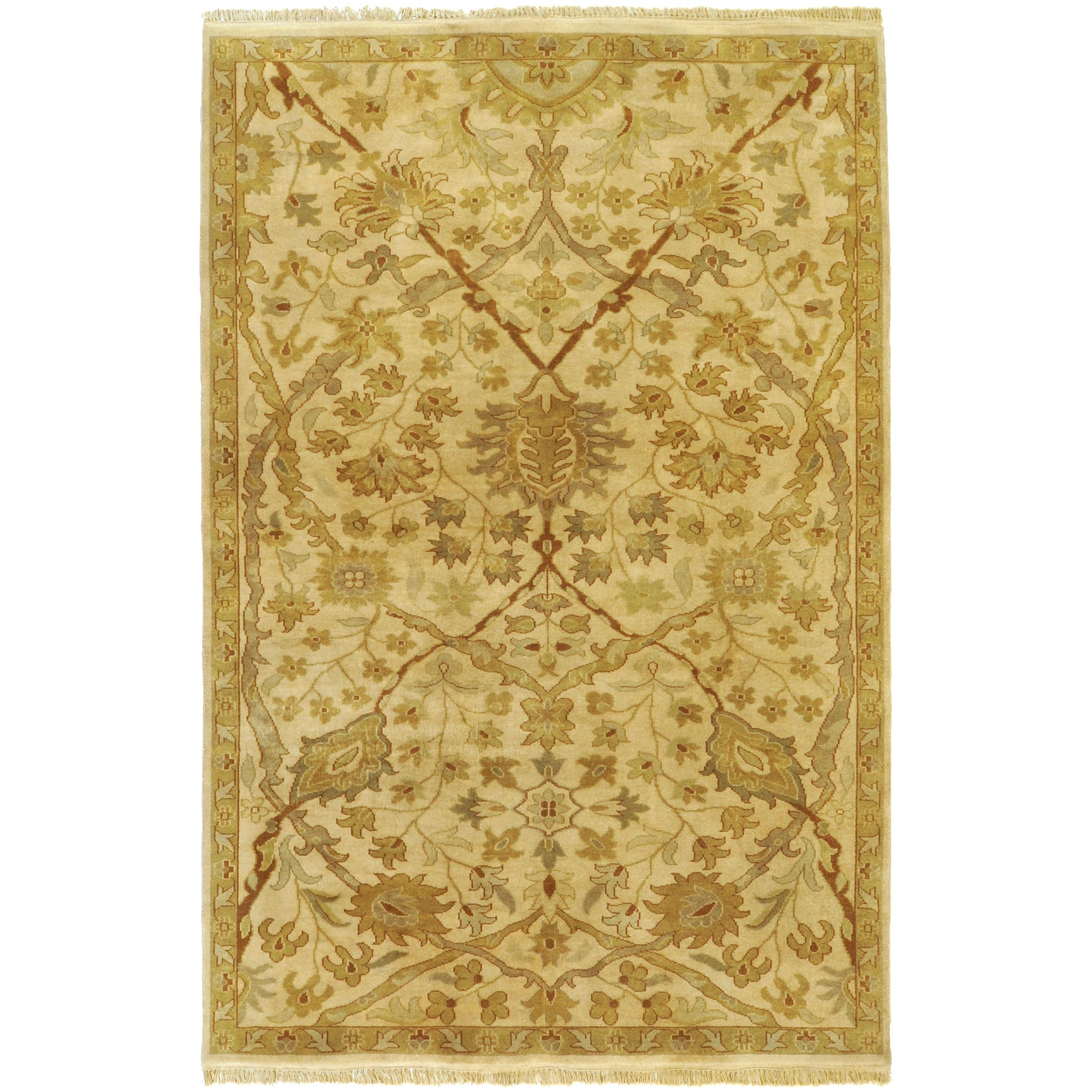 Hand-knotted Cream Kabocha New Zealand Wool Area Rug - 3'9 x 5'9