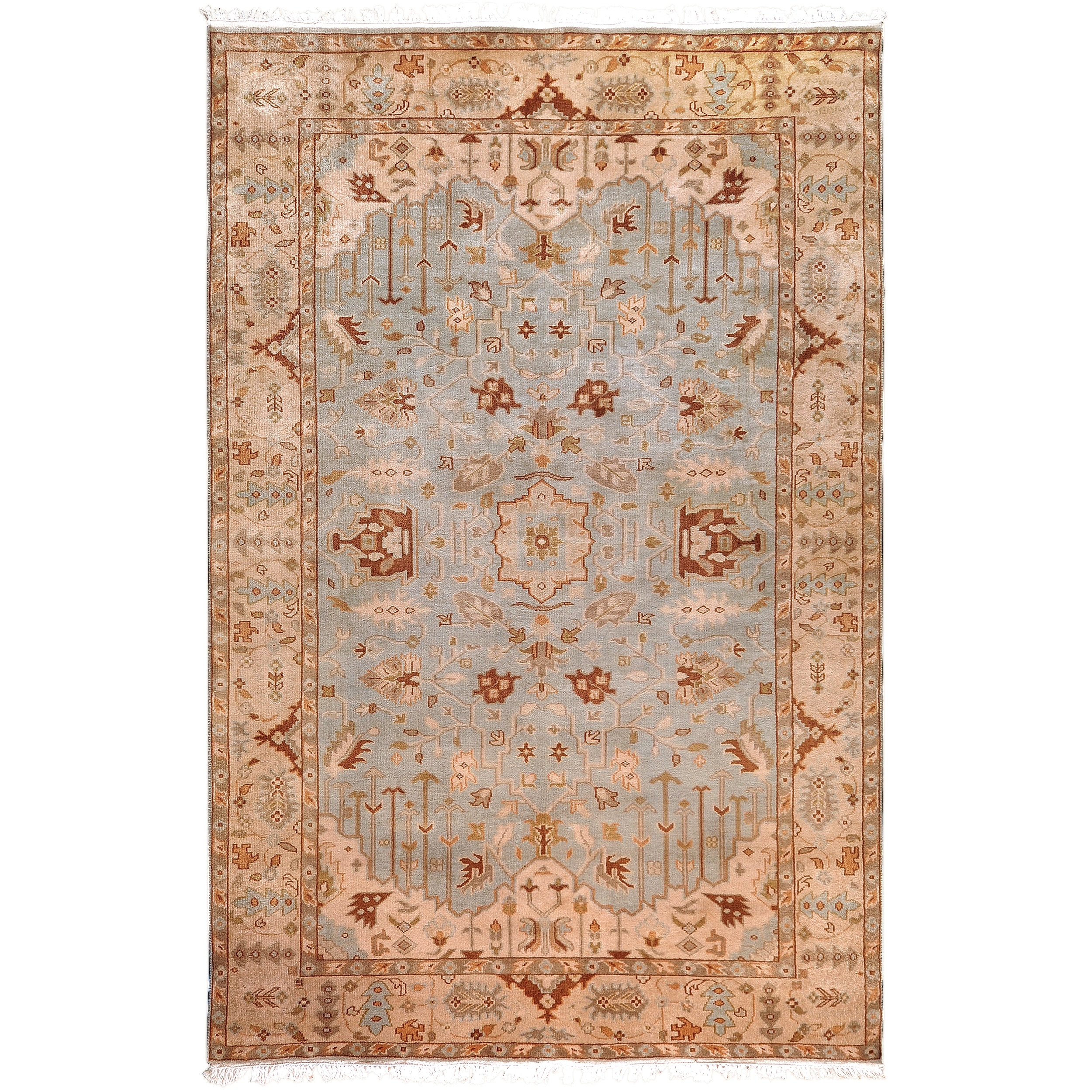 Hand-knotted Light Blue Ismo New Zealand Wool Area Rug (8' x 11')