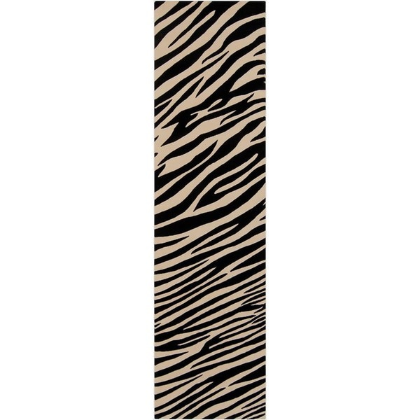 """Hand-knotted Zebra Animal Print Parsely Semi-Worsted Wool Area Rug - 2'6"""" x 10' Runner"""