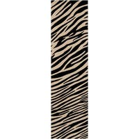 Hand-knotted Zebra Animal Print Parsely Semi-Worsted Wool Area Rug (2'6 x 10')