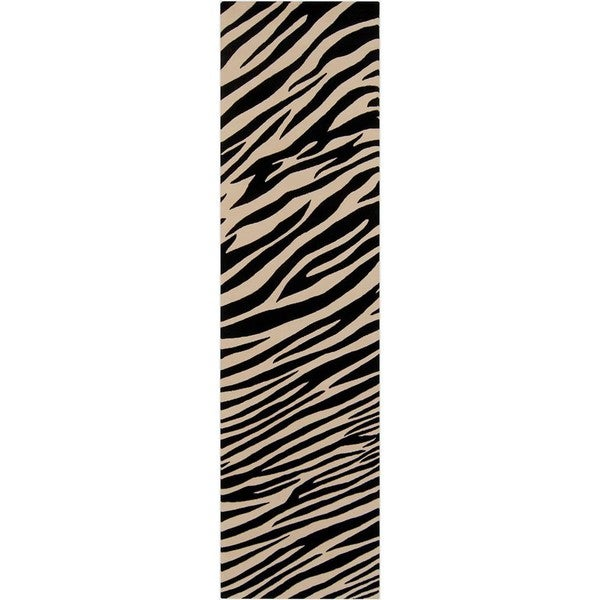 Hand Knotted Zebra Animal Print Ply Semi Worsted Wool Area Rug 2