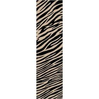 "Hand-knotted Zebra Animal Print Parsely Semi-Worsted Wool Area Rug - 2'6"" x 10' Runner"