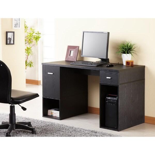 Furniture of America Station Matte Black Modular TV Cabinet/ Home Office Desk