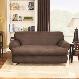 Sure Fit Stretch Faux Leather 2 Piece T Cushion Sofa Slipcover