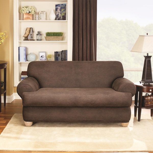 Sure Fit Stretch Faux Leather 2 Piece T Cushion Sofa
