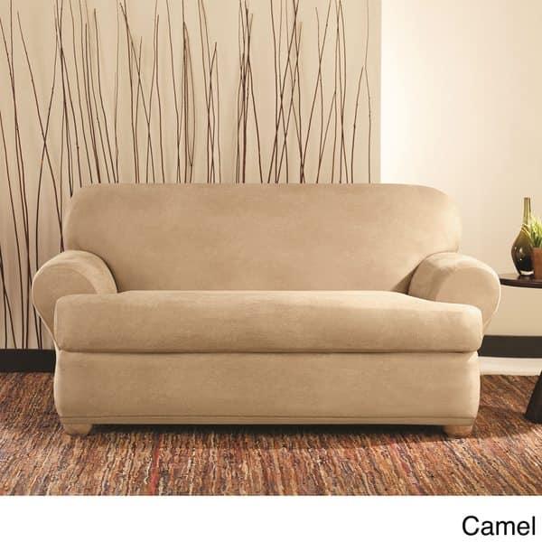 Shop Sure Fit Stretch Faux Leather 2-piece T-cushion Sofa ...