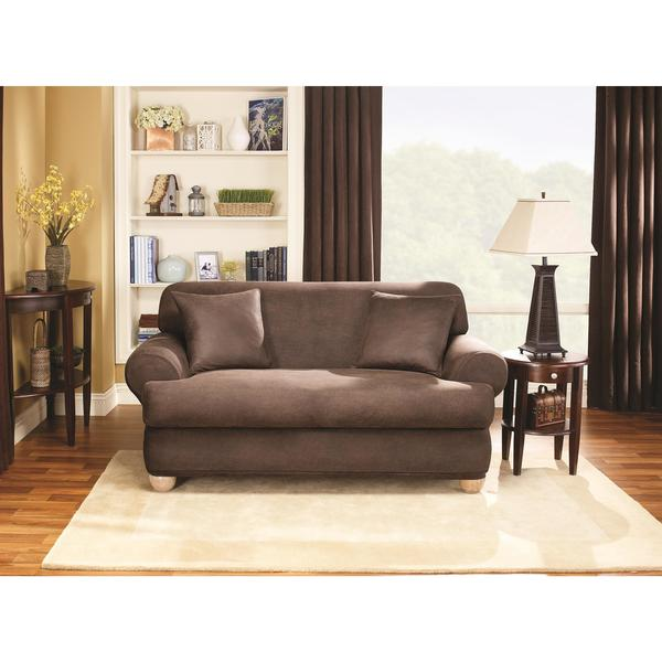 Sure Fit Stretch Faux Leather 2piece Tcushion Sofa Slipcover