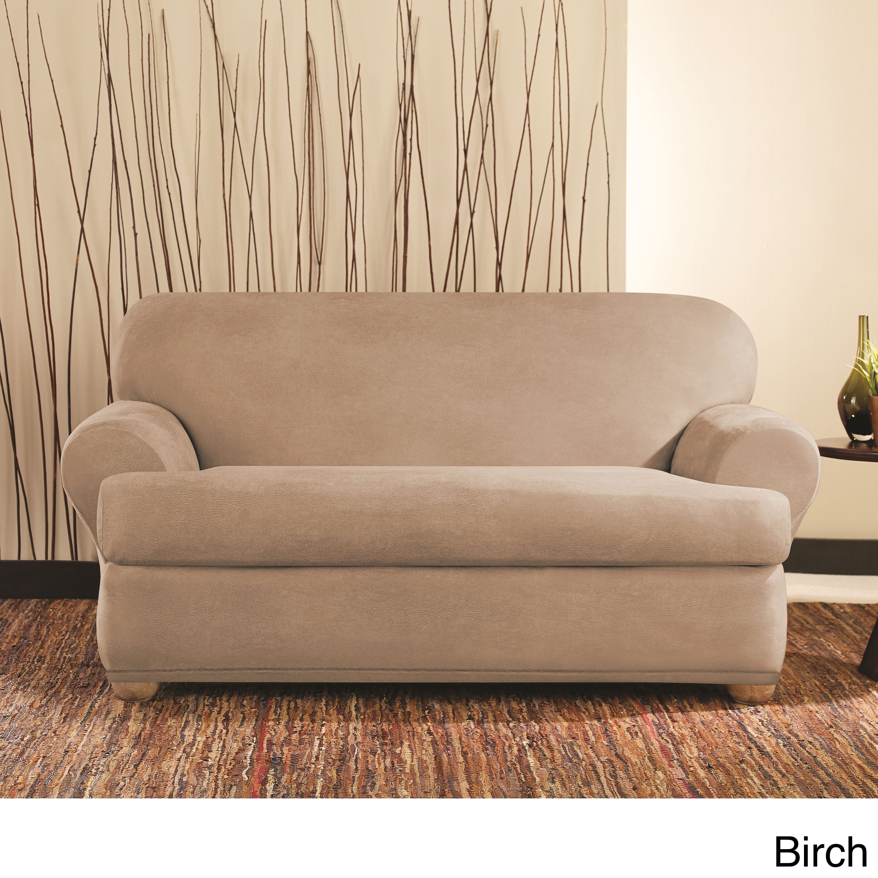 SureFit Vintage Leather Reversible Furniture Cover Loveseat Birch NEW in pack