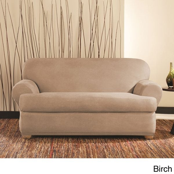 sure fit stretch 2 piece t cushion sofa slipcover