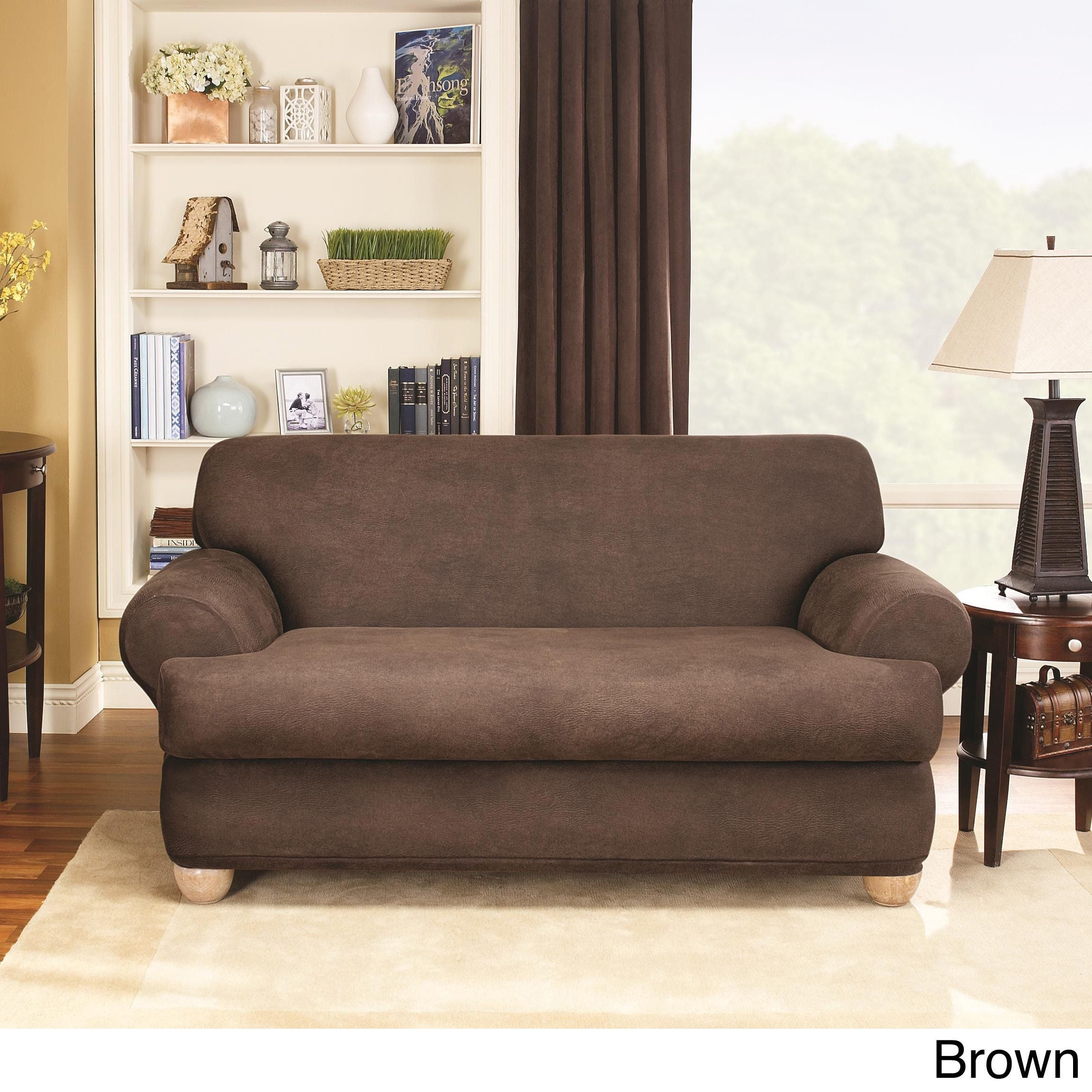Charmant Sure Fit Stretch Faux Leather 2 Piece T Cushion Sofa Slipcover