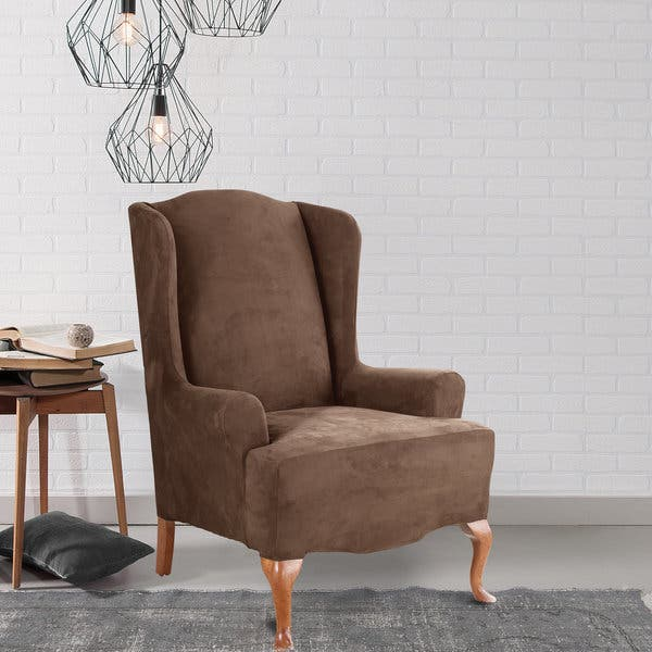 Enjoyable Sure Fit Brown Faux Leather Stretch Wing Chair Slipcover Gmtry Best Dining Table And Chair Ideas Images Gmtryco