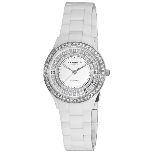 Akribos XXIV Women's Slim Ceramic Quartz White Watch with FREE Bangle