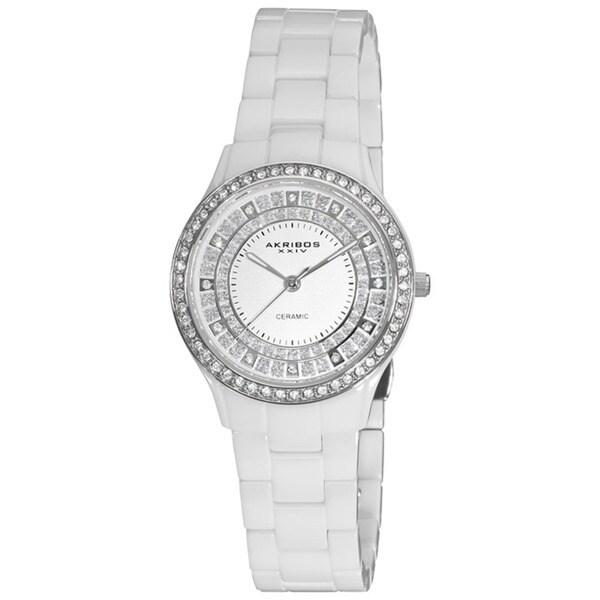 Akribos XXIV Women's Slim Ceramic Quartz White Watch with GIFT BOX