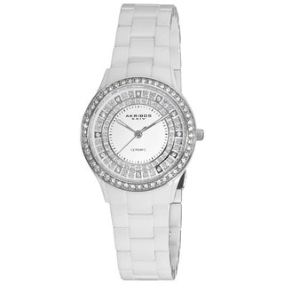 Akribos XXIV Women's Slim Ceramic Quartz White Watch