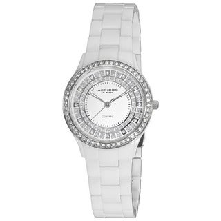 Akribos XXIV Women's Slim Ceramic Quartz White Watch