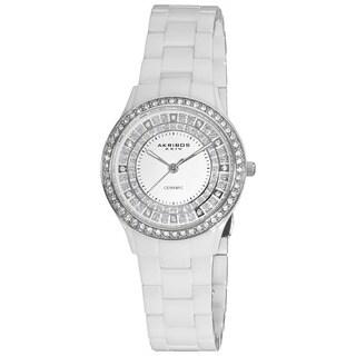 Akribos XXIV Women's Slim Ceramic Quartz White Watch with GIFT BOX
