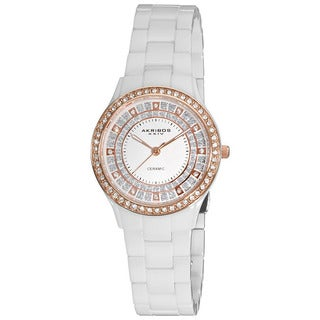Akribos XXIV Women's Slim White Ceramic Quartz Watch with GIFT BOX