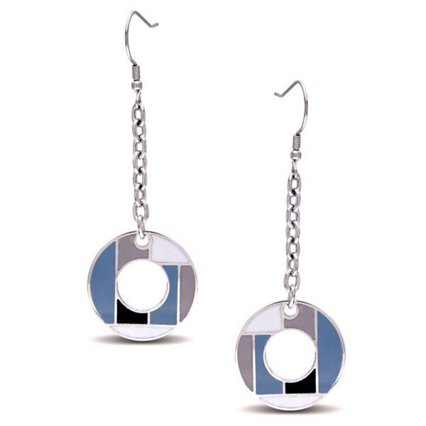 Miadora Stainless Steel Circle Dangle Earrings