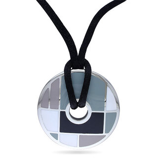 Miadora Stainless Steel Circle Silk Rope Necklace