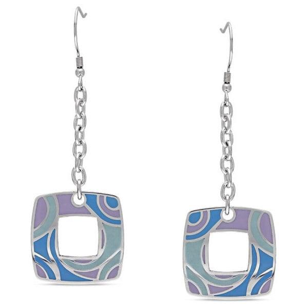 Miadora Stainless Steel Swirl Dangle Earrings