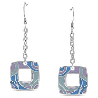 Miadora Stainless Steel Swirl Dangle Earrings