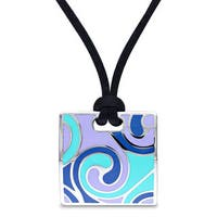 Miadora Stainless Steel Square Silk Rope Necklace