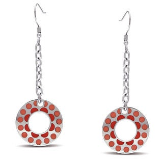 Miadora Stainless Steel Pink Circle Dangle Earrings