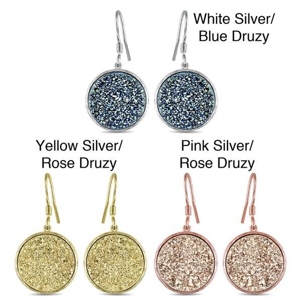 Miadora  Gold Plated Silver Rose/Blue Druzy Gemstone Earrings