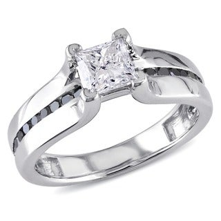 Miadora Signature Collection 14k White Gold 1ct TDW Black and White Diamond Ring