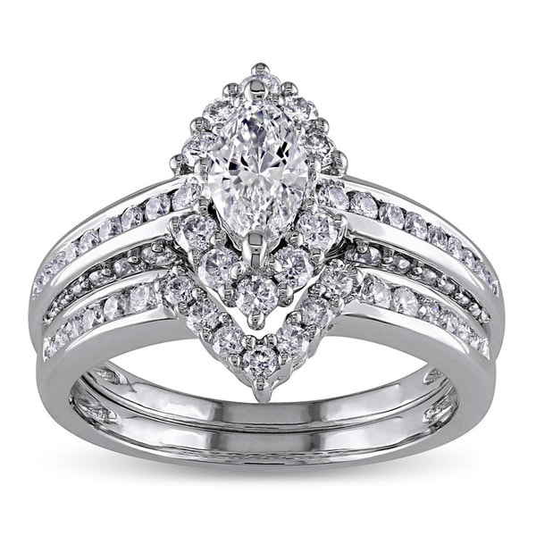 Miadora Signature Collection 14k Gold 1 1/2ct TDW Marquise Halo Diamond Bridal Set