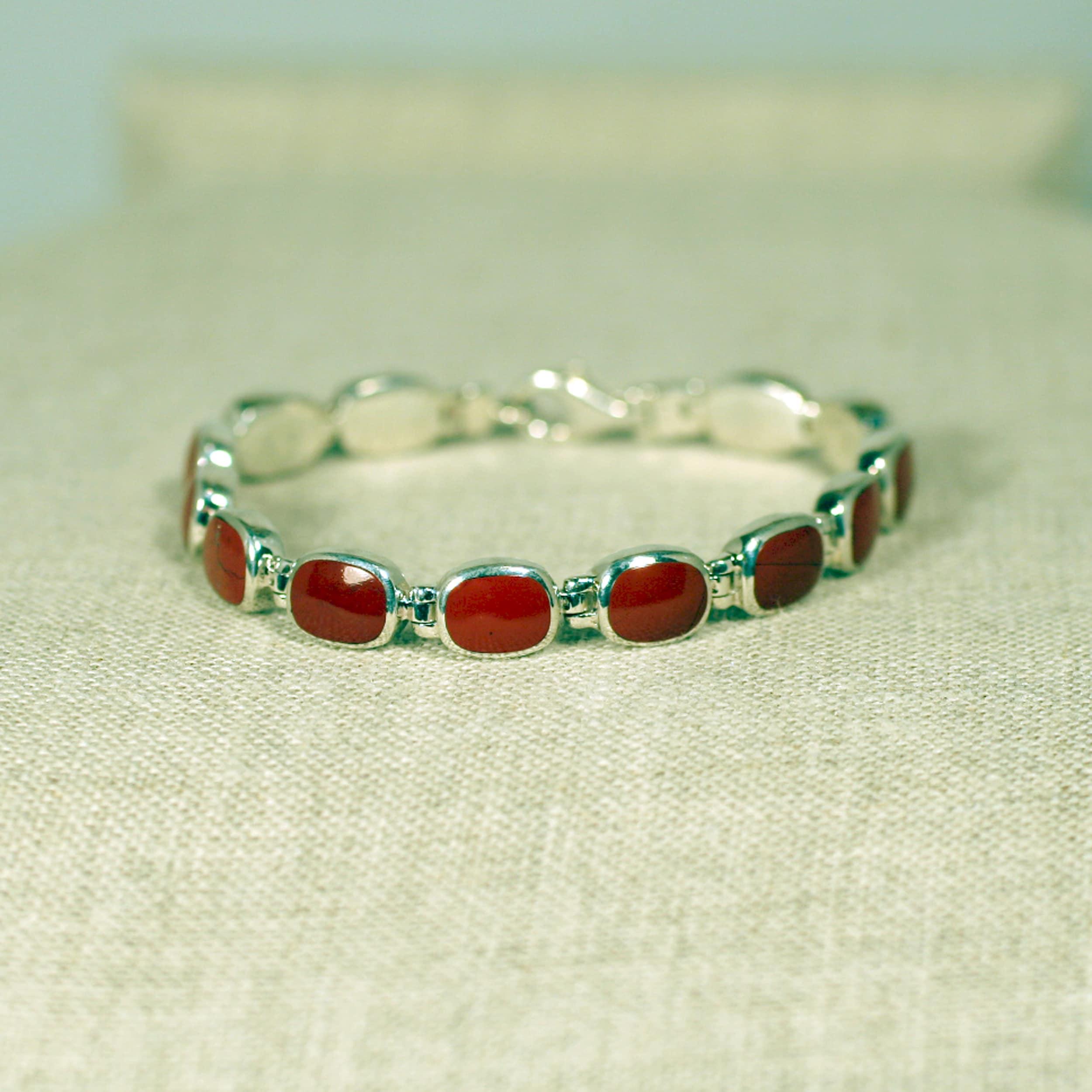 Peyote Bird Designs Sterling Silver Red Jasper Tennis Bracelet (Thailand)