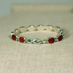 Peyote Bird Designs Sterling Silver Red Jasper Tennis Bracelet (Thailand) - Thumbnail 1