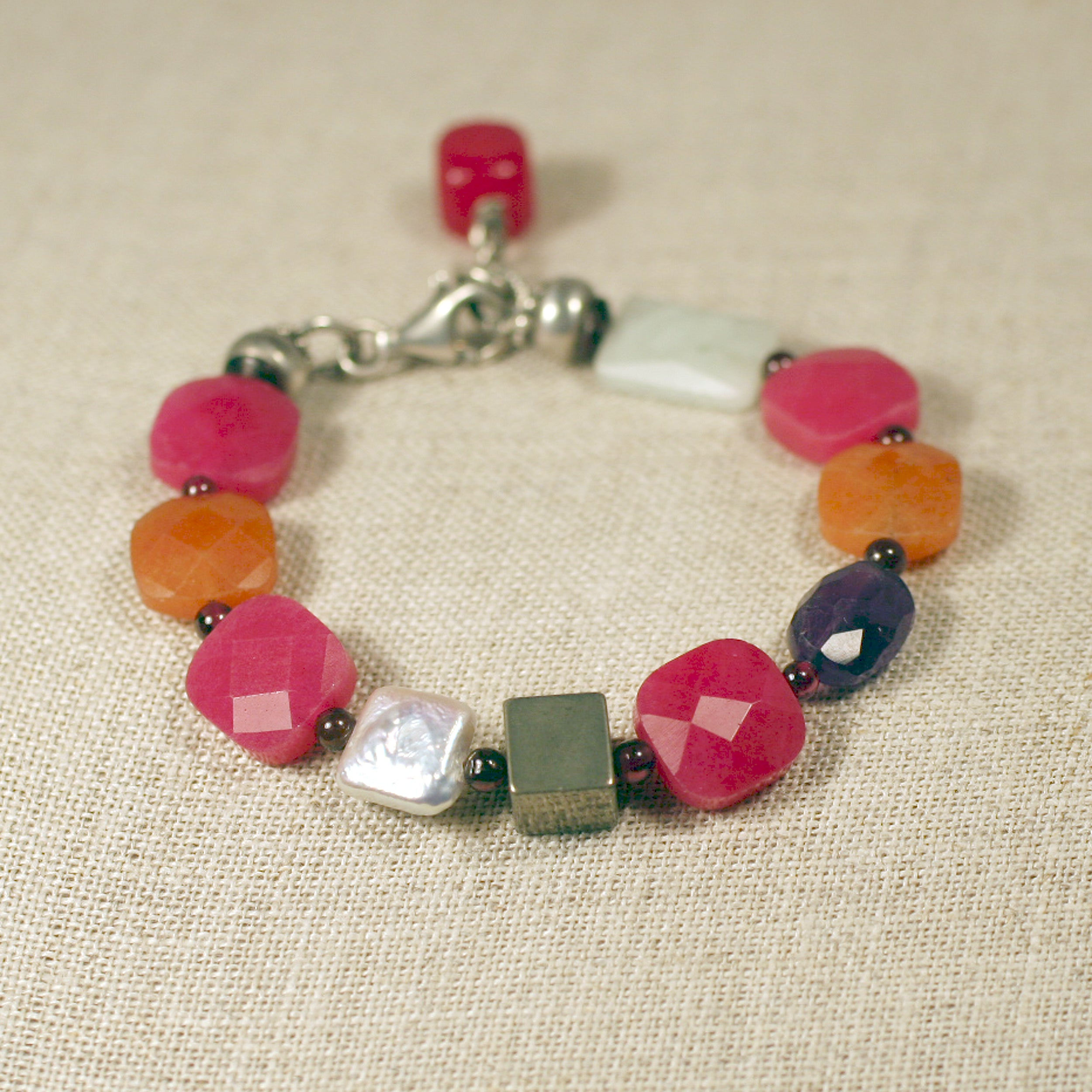 Designs Sterling Silver Jade, Quartz, Pyrtie and Pearl Bracelet (9 mm)(China)