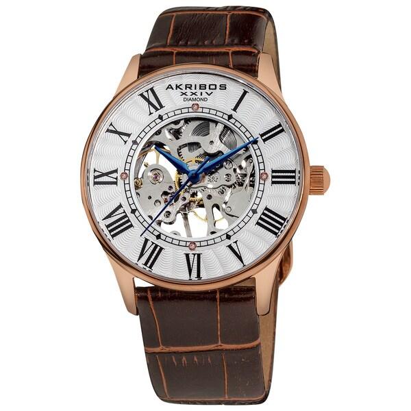 Akribos XXIV Slim Men's Mechanical Rose-Tone Watch