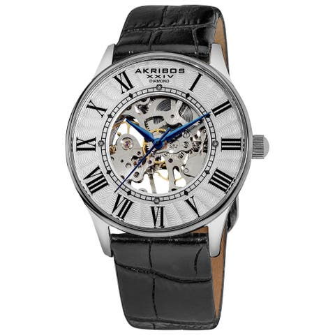 Akribos XXIV Slim Men's White Dial Mechanical Silver-Tone Watch - black