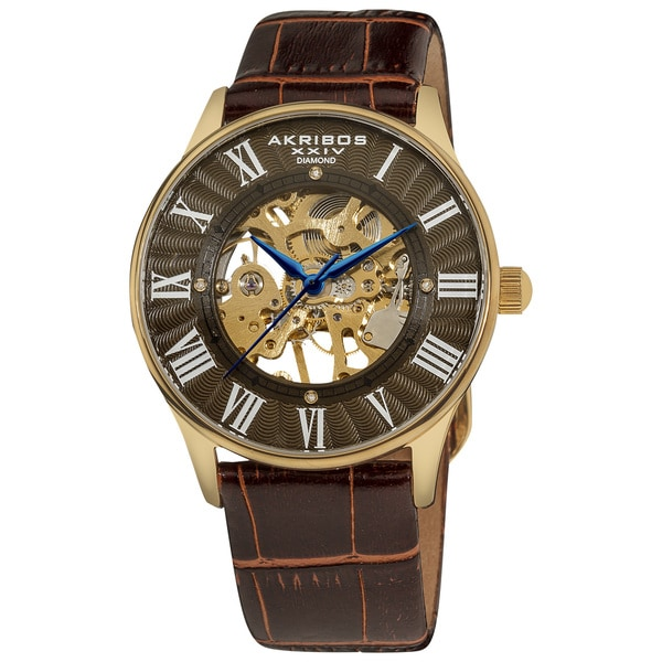 Akribos XXIV Slim Men's Brown-Dial Mechanical Gold-Tone Watch. Opens flyout.