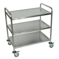 Luxor Silver Three-shelf Rolling Stainless Steel Kitchen Cart
