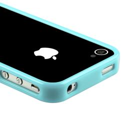 Blue TPU Bumper Case/ LCD Protector/ Dust Cap for Apple iPhone 4S - Thumbnail 2