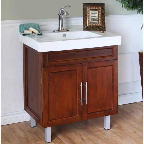 Walnut 31 5 Inch Birch Wood Single Bathroom Vanity And Sink