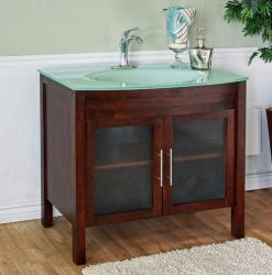 Walnut 39.4-inch Birch Wood Single Bathroom Vanity and Sink