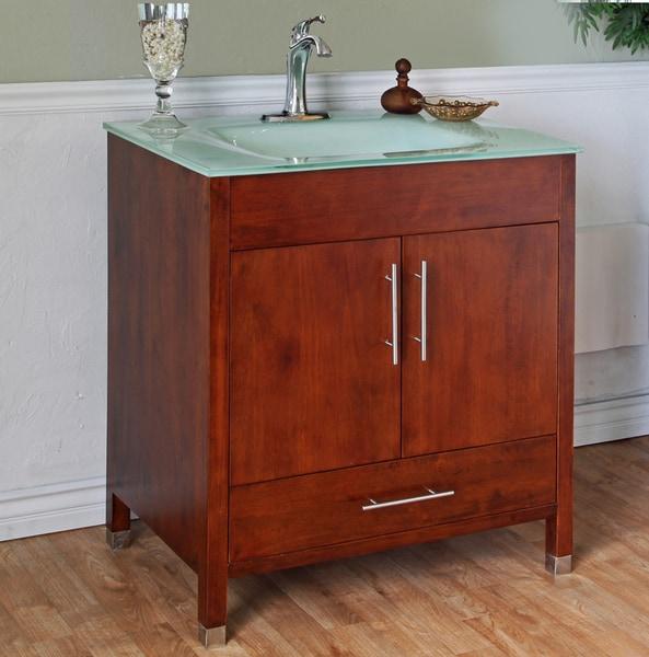 65 Inch Bathroom Vanity Single Sink: Shop Medium Walnut 32-inch Single Bathroom Vanity And Sink