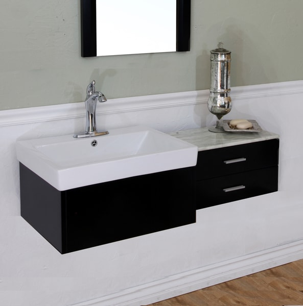Shop Single Sink Black Wood 45 8 Inch Vanity Free Shipping Today 6470784
