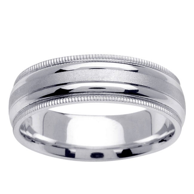 14k White Gold Men's 2-milligrain Wedding Band