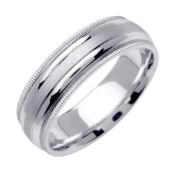 14k White Gold Men's 2-milligrain Wedding Band - Thumbnail 1